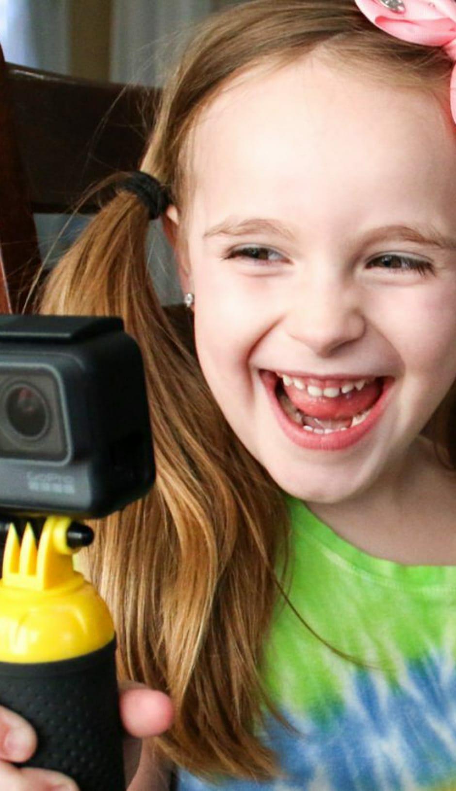 Girl recording a video