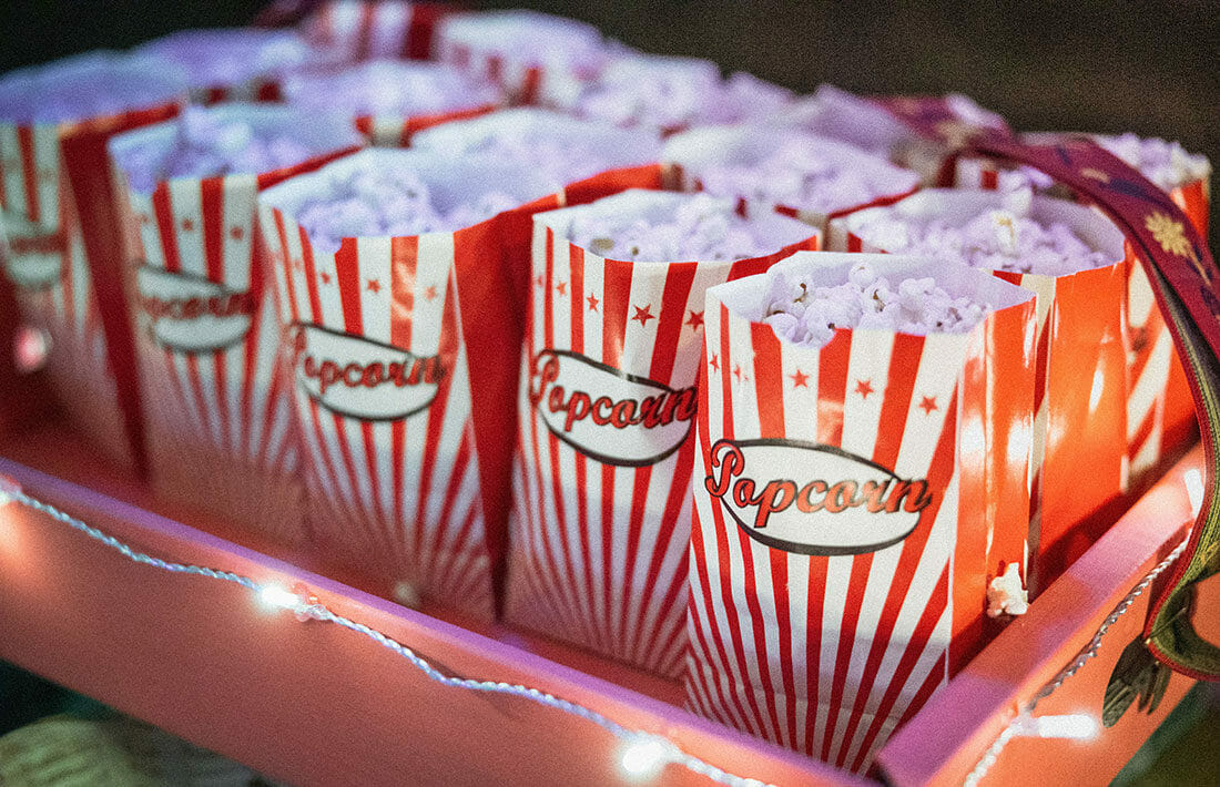 Multiple pages of popcorn lined up in rows.