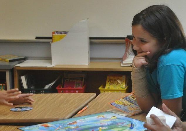 Students having a conversation
